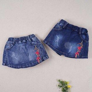 Quan vay jeans cho be gai theu hoa dao de thuong (3 tuoi - 9 tuoi)