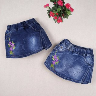 Quan vay jeans cho be gai theu hoa la (3 - 9 tuoi)