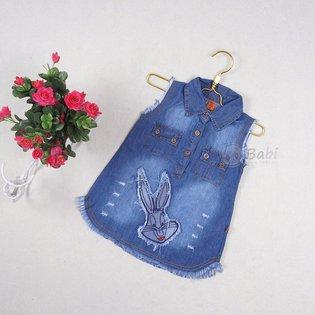 Vay jeans cho be gai sat nach theu dap tho (1 - 6 tuoi)