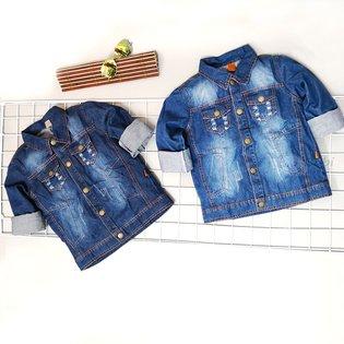 Ao khoac jeans phoi tui wash rach cho be trai (5 tuoi - 9 tuoi)