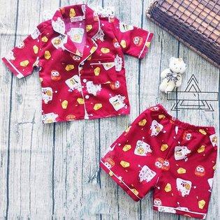 Bo pijama be gai hoa tiet meo may man (9 thang - 7 tuoi)