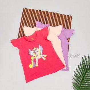 Ao be gai tay canh tien in hinh Pony de thuong