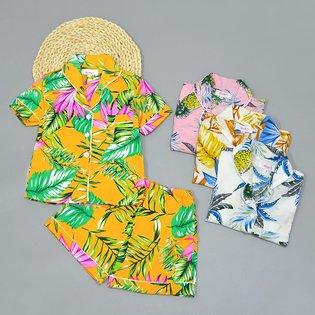 Bo pyjama cho be gai ngan hoa tiet la (2-10 tuoi)