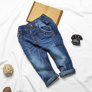 Quan jeans dai cho be trai lung thun wash hinh mui neo (5 tuoi - 9 tuoi)