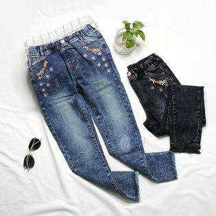 Quan Jeans Dai Cho Be Gai 6-13 Tuoi Theu Hoa Xinh Xan
