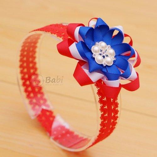 Bang do handmade cho be dinh 5 hat hoa nhieu mau
