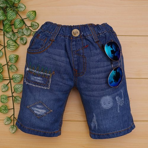 Quan jeans BJK lung cho be trai theu hinh wash nhe