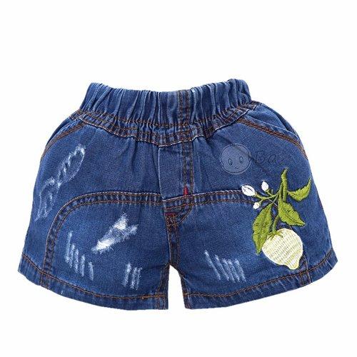 Quan short Jeans cho be gai theu hoa la