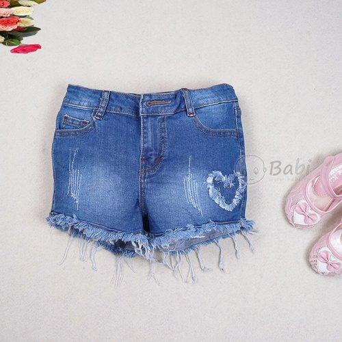 Quan short jeans cho be gai theu dap hinh tim (4 - 10 tuoi)