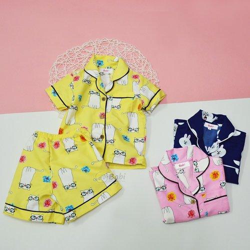 Bo pijama be gai in meo de thuong