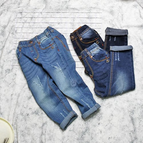 Quan Jeans Dai Be Trai Lung Thun Wash Ca Tinh