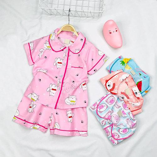 Bo Pijama Cho Be Gai Tay Ngan Quan Dui Nhieu Hoa Tiet Sieu De Thuong (3 - 11 Tuoi)