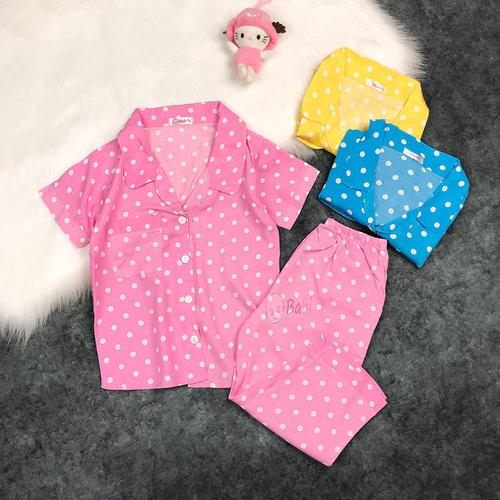 Bo Tole Pyjama Tay Ngan Quan Dai Hoa Tiet Cham Bi De Thuong (2 tuoi - 11 tuoi)