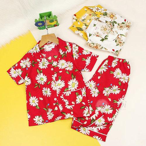 Bo Pijama Cho Be Gai Tay Ngan Quan Lung Hoa Tiet Hoa Cuc De Thuong (2 - 11 tuoi)