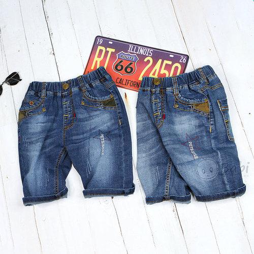 Quan Jeans Lung Be Trai Wash Nhe In Chu  Don Gian Size Dai ( 5 - 12 Tuoi)