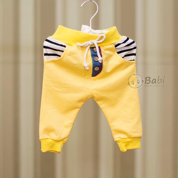 Quàn thun dài cho bé trai hai túi sau giả jeans 3