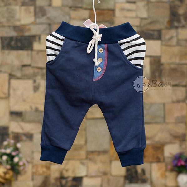 Quàn thun dài cho bé trai hai túi sau giả jeans 8