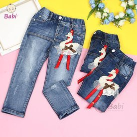 Quan jeans Be Gai Lung Thun Kem Khoa Thien Nga Xinh Xan (1 - 7 tuoi)