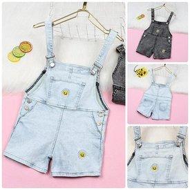 Quan Yem Short Jeans Cho Be Gai Theu Hoa Cuc Cute (2 - 10 tuoi)