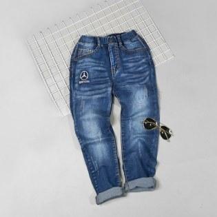 Quan Jeans Cho Be Trai 7-13 Tuoi Wash Nhe Theu Logo