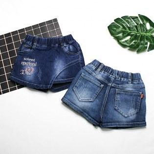 Quan Jeans Be Gai Gia Vay Theu Chu (10 - 17 kg)