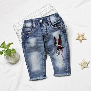 Quan jeans lung cho be gai theu hinh co tien ( 3 tuoi - 6 tuoi)