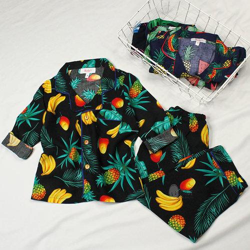 Bo Tole Pyjama Tay Dai Quan Dai Cho Be Hoa Tiet Hoa Trai (3 tuoi-10 tuoi)