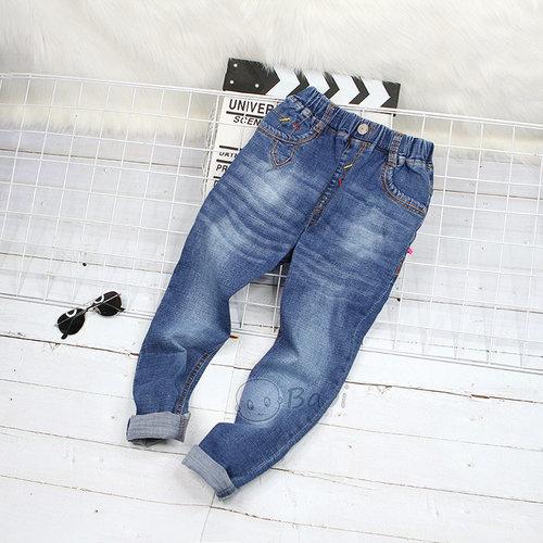 Quan Jeans Dai Cho Be Trai Lung Thun  Mau Tron Don Gian Size Dai Co (40 - 50kg)