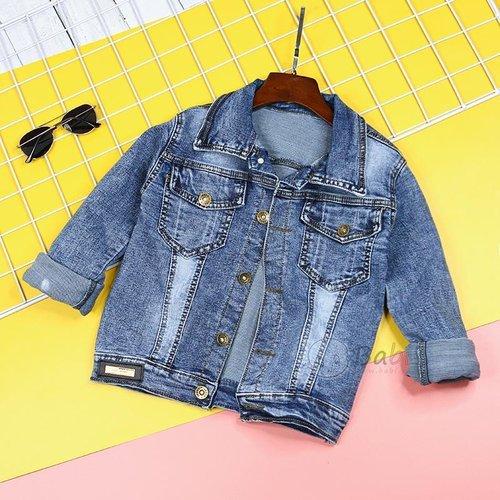 Ao Khoac Jeans Cho Be  Dinh Logo Ca Tinh Size Dai (6 - 12 tuoi)
