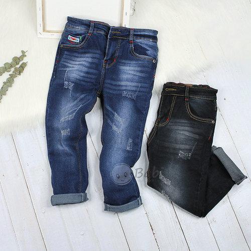 Quan Jeans Dai Cho Be Trai Mau Tron Wax Rach Sanh Dieu Size Dai (6 - 10 Tuoi)