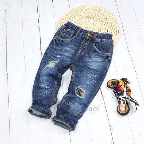Quan Jeans Dai Lung Thun Cho Be Trai Wax Rach Thoi Trang (2 - 6 Tuoi)