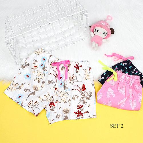 Set 3 Quan Short Be Gai Mac Nha Nhieu Hoa Tiet Xinh Xan (1  - 7 Tuoi)