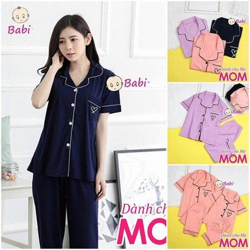 Bo Pyjama Danh Cho Me Tay Ngan Quan Dai Mau Tron Mix Tui Nho Xinh Xan  (48 Kg - 62 Kg)