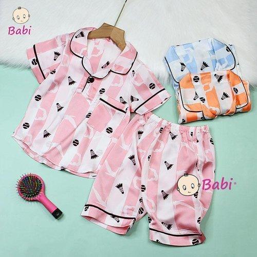 Bo Pyjama Satin Cho Be Tay Ngan Quan Lung Nhieu Hoa Tiet Xinh Xan  (3 - 10 tuoi)